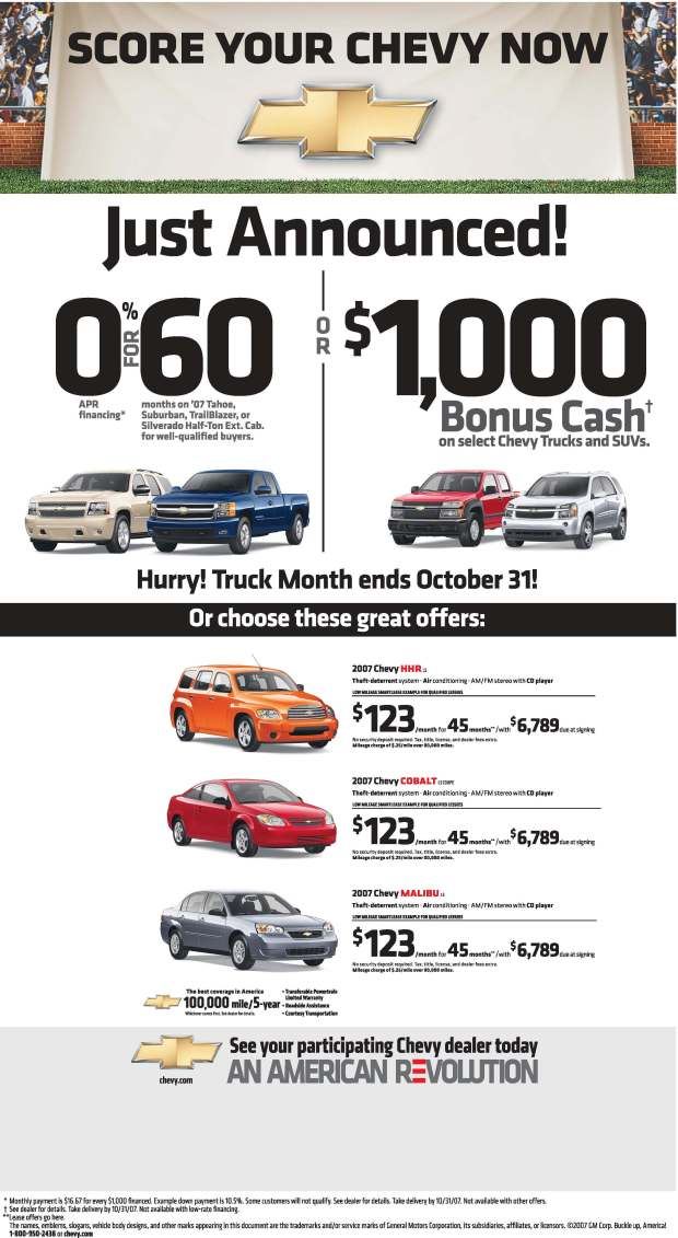 October Chevrolet deals