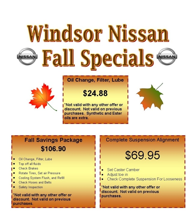 Windsor Nissan Fall Specials