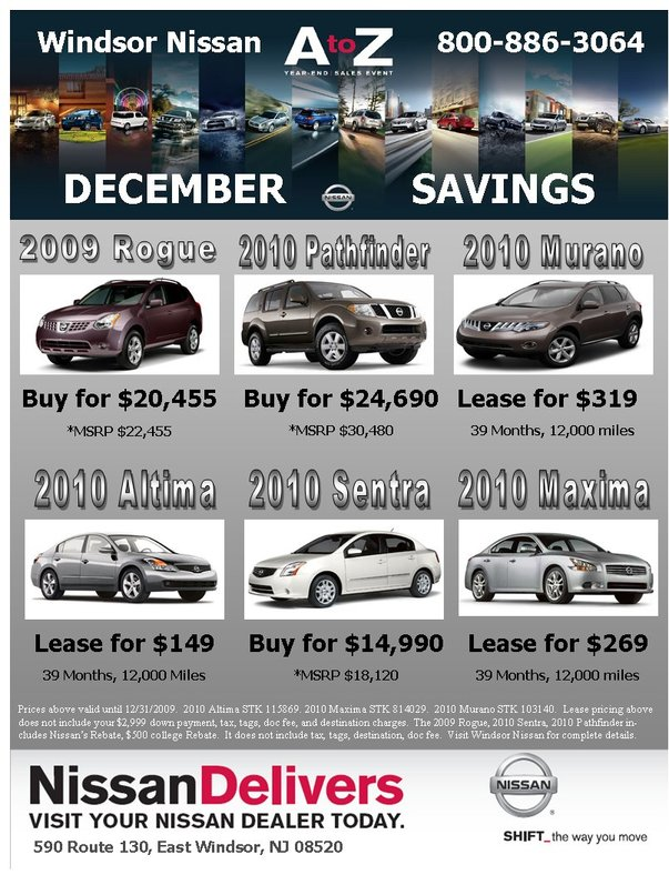 Nissan A-Z Year end sales event